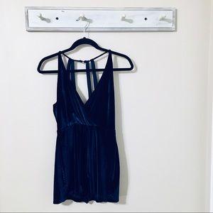 Urban Outfitters Navy Blue Velvet Romper